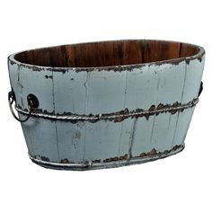 Corral outdoor accessories or garden tools in this handcrafted wood bucket, showcasing 2 iron handles and metal band detail. Decorative Accessories, Home Accessories, Decorative Boxes, Aqua, Joss And Main, Metal Bands, Chinese Style, Storage Containers, Rustic Furniture