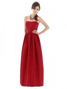 Sheath / Column Strapless Belt Sleeveless Floor-length Taffeta Red Bridesmaid Dress #bridesmaid #dress #red