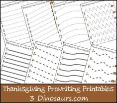 What you will find in these FREE Thanksgiving Theme Prewriting Printables:  	Single thin dashed lined 14 pages 	Thick solid line 7 pa
