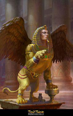 ArtStation - soon lee Sphinx Mythology, Egyptian Mythology, Egyptian Goddess, New Fantasy, Fantasy Races, Dark Fantasy Art, Magical Creatures, Fantasy Creatures, Greek Monsters