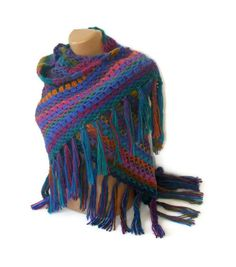 SALE rainbow wool shawlmulticolorstolewoman shawlhand by seno, $65.00