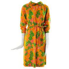 1970 Goldworm Lightweight Virgin Wool Flower Dress Poder