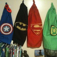 Capes!!! Perfect touch to my sons superhero room. Thanks to my wonderful mom and her mad sewing skills