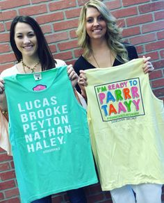 Chandler & Amber's favorite tanks inspired by their favorite tv-show/movie! Shop these Jadelynn Brooke tanks online now! --> link in bio. #onetreehill #clothesoverbros #bridesmaids #youhaveafacelikesunshine #jadelynnbrooke #favoritemovie #favtvshow #shopPD
