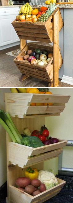 Fruit and vegetable storage ideas is part of Kitchen Organization Vegetables - 16 Fruit and vegetable storage ideas To storage fruit and vegetable you can use drawers, fabric bags, woven baskets mounted in a wooden frame or traditional wooden baskets Fruit And Vegetable Storage, Fruit Storage, Vegetable Rack, Produce Storage, Produce Stand, Vegetable Basket, Diy Kitchen, Kitchen Storage, Kitchen Decor