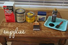 How to make chalk paint-  Supplies:  Paint (I matched 'white raisin' by Sherwin Williams at Lowes)  Plaster of Paris (powder)  Plastic container  Water  Furniture wax  Paint brush  Vaseline  Cloth  Medium sandpaper (120 works good)