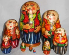 """Vtg 9 pc Vested Man with Pipe Russian Nesting Dolls Matryoshka  Vintage Men in VestFaces and Hands are Natural WoodAll of the Men have a Pony Tail hair cutEach of them is wearing a Vest of a different color All have Incredible Detailed Faces with Expressive Green eyes.The Hand Lathed Wood is Fabulous!   Set of 9.  Measures 7 1/4"""" x 3 5/8"""". Hand Painted and Signed at the base by a very talented Russian Artist.    Made in Russia.    Excellent Condition! Thank you for looking!"""