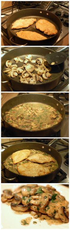 Chicken Marsala Recipe - so nums. One of my favorite dishes Delicious Dinner Recipes, Great Recipes, Favorite Recipes, Easy Recipes, I Love Food, Good Food, Yummy Food, Tasty, Marsala Recipe