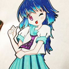 A blue manga girl created by @estely.gv with their Chameleon Pens.  #ComicConBolivia  #Draw #Drawing #Anime #AnimeArt #Manga #Mangaka #MangaArt #BolivianArtist #BolivianArt #ArteBoliviano #ArtistaBoliviana #ArtistaBoliviano #ChameleonPens