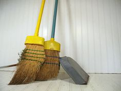 Shabby Chic Cinderella's Tools Trio - Vintage Aged Straw Brooms & Stand Up Metal Dust Pan Primitive Collection - Well Worn Fire Place Decor $61.00 by DivineOrders
