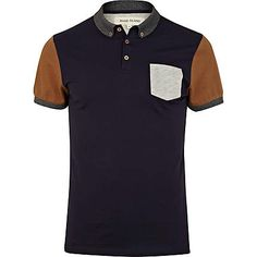 Navy colour block short sleeve polo shirt - polo shirts - t-shirts / vests - men (£16.00) - Svpply