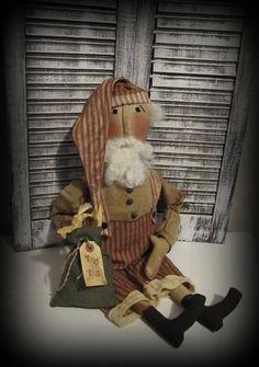 Primitive Santee Doll Bag of Toys Handmade Christmas Santa