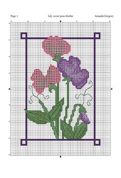 Amanda Gregory cross-stitch design: July sweet peas free cross stitch chart