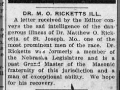 Dr. M. O. Ricketts ~ St. Joseph, MO ~ Jan 6, 1917 on page 1