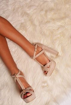 Update your wardrobe with these chunky platform heels with gold detailing. In suede effect fabric, and straps around the ankle, this nude shade is going to be massive for Spring/ Summer and can be worn whatever the season. Beige High Heels, Platform High Heels, Heeled Boots, Shoe Boots, Shoes Heels, Nude Heels, Cute Shoes, Me Too Shoes, Pumps
