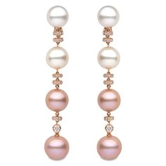 "Yoko London ""Ombre"" Pink & White Pearl Drop Earrings - Fun, party pearls!"