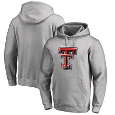 Texas Tech Red Raiders Fanatics Branded Primary Team Logo Pullover Hoodie - Ash