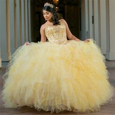 May 2020 - Excellent Yellow Sweetheart ruffles Ball Gown Quince Dresses Xv Dresses, Quince Dresses, Ball Gown Dresses, Puffy Dresses, Tulle Balls, Tulle Ball Gown, Pretty Quinceanera Dresses, Quinceanera Ideas, Pretty Dresses