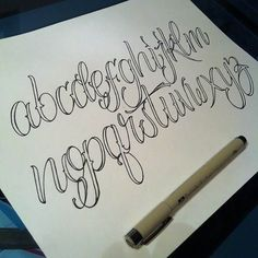 A bunch of people have been asking me about some alphabet sheets. I'm working on a few things. Should have a basic script sheet ready… Tattoo Lettering Alphabet, Tattoo Fonts Cursive, Tattoo Lettering Styles, Chicano Lettering, Graffiti Lettering Fonts, Hand Lettering Alphabet, Graffiti Alphabet, Creative Lettering, Lettering Design