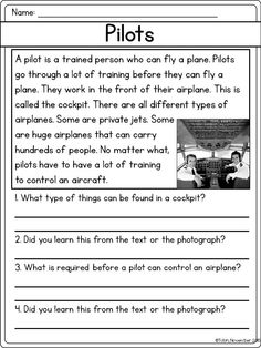 Picture- passage where students write information about where they learned the information in the text and the picture 2nd Grade Reading Worksheets, Free Reading Comprehension Worksheets, First Grade Reading Comprehension, Reading Fluency, Reading Intervention, Reading Passages, Comprehension Questions, English Phonics, English Grammar