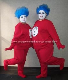 Homemade Dr. Seuss  Thing 1 and Thing 2 Costumes: My best friend and I wanted to be something funny for the costume party at work.  We're always goofing around and making people laugh, so it had to be