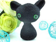 Black cat gift, Cat lover gifts, Cat decor, Amigurumi cat, Halloween decor Hand Crocheted Black Kitten Handmade Stuffed Kitten Kitty Plushy