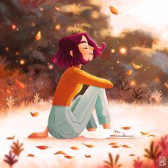 Illustration Waiting for fall Autumn Leaves Marie Vanderbemden Fall Drawings, Cartoon Drawings, Cartoon Art, Cute Drawings, Leaves Illustration, Alone Art, Digital Art Girl, Cute Cartoon Wallpapers, Anime Art Girl