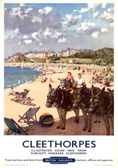 Cleethorpes, Lincolnshire, British Railways Travel Poster Print, Donkeys Beach