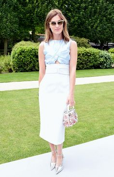 Hanneli Mustaparta looks ultra feminine with metallic pumps and a floral Lady Dior bag. // #DiorCouture #Fashion