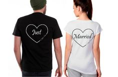 Bride / Groom Just Married Shirts by checkpointcharlee on Etsy, $18.50