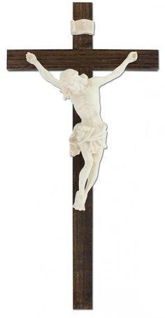 Kruzifix gebeizt mit Ahorn-Korpus 33,5 cm
