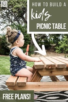 Want to create a fun area for your kids in the backyard? Check out how to build this cute outdoor wooden little kids picnic table with free plans included and a video tutorial! #plans #DIY #wood #woodworking #outdoortable