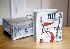 DIY newspaper gift bags (or wrapping paper would probably work too!)