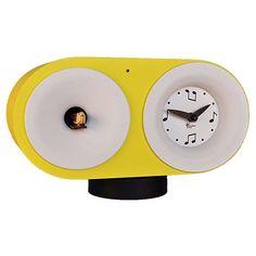 #orologio a #cucu giallo, da tavolo. Design Giovanni #Pirondini. Bebop. Con silenziatore notturno #homedesign
