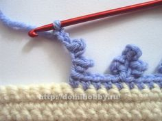 Triple Picot Edge + several other simple edges in this Russian site. This is a very flowery looking edge for spring! ╭⊰✿Teresa Restegui http://www.pinterest.com/teretegui/✿⊱╮