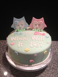Gender Reveal Cake.. love the OWL theme!