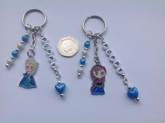 Handmade Personalised Any Name Disney Frozen Princess Elsa or Anna keyring bag charm. £3.49 free delivery.