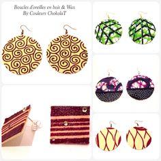 Dernières créations en Wax!  www.couleurschokolat.com #tissuafricain, #waxfabricjewellery, #wax, #bijouxenpagne, #handmadejewellery, #bijouxfaitmain, #création, #wax, #pagne