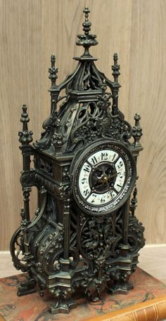 Antique French Gothic Bronze Mantel Clock | Mantel/Wall | Inessa Stewart's Antiques