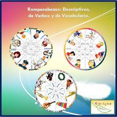 Rompecabezas para Niños: Descriptivos, de Verbos y de Vocabulario para Imprimir