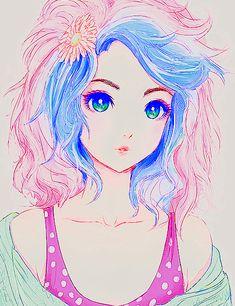 anime, girl, and kawaii image Manga Anime, Manga Girl, Art Manga, Manga Drawing, Anime Chibi, Anime Girls, Drawing Tips, Anime Hair, Kawaii Anime
