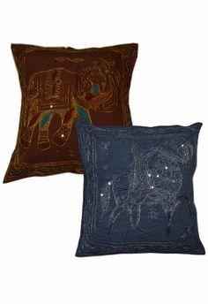 ($10.00) Rajasthani Handmade Zari, Embroidery Work Cotton Cushion Cover Set From Rajrang