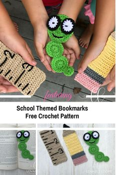Crochet Hoodies School Themed Free Crochet Bookmark Patterns - There are adorable things you can make with little bits of leftover yarn. These school themed free crochet bookmark patterns are great like this. Crochet Books, Crochet Gifts, Doilies Crochet, Quick Crochet, Free Crochet, Crochet Granny, Easy Crochet Bookmarks, Bookmark Craft, Book Markers