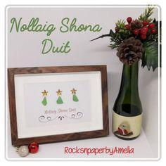 Irish Gailge Christmas green sea glass art Nollaig Shona | Etsy