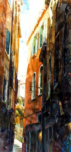 "Loving this artist!  Saatchi Online Artist: stephen zhang; Watercolor, Painting ""Venice Alleys No. 4"""