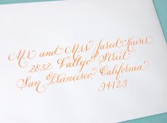i really like this font Calligraphy Envelope, Calligraphy Print, Envelope Art, Wedding Calligraphy, Typography Letters, Typography Design, Hand Lettering, Lettering Ideas, Invitation Design