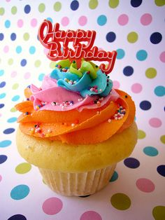 Send this free happy birthday ecard to a friend or family member different spin on a rainbow cupcake m4hsunfo