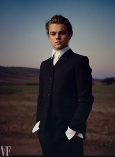 "Leonardo DiCaprio, Lebec, California, by Annie Leibovitz for ""Leonardo Takes Wing"" editorial, Vanity Fair January 1998 issue."
