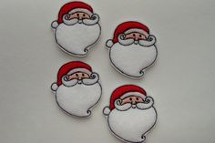 SANTA - (4) Machine Embroidered Embellishments / Appliques - Two sizes available - Ready to ship - pinned by pin4etsy.com