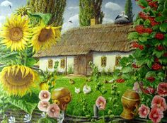 Rustic Painting, Diy Painting, Watercolor Landscape Tutorial, Facebook Cover Images, Sunflower Pictures, Iranian Art, Goddess Art, Landscape Paintings, Modern Art